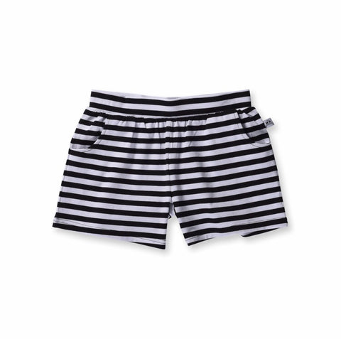 Girls Standard Lounge Short-Black Stripe