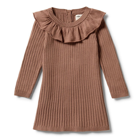 Knitted Rib Ruffle Dress- Burro