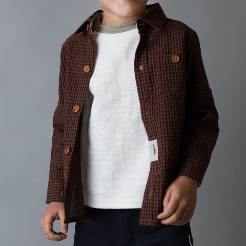 Boys Large Gingham Check Shirt- Brown Gingham