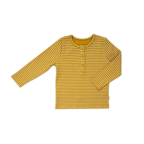 Mustard Rib Henley LS Tee- golden stripes