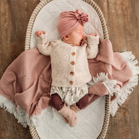 Dusty Pink Swaddle with Cream fringe