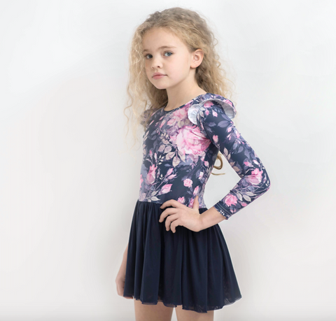 Ink Floral L/S Frill Tutu Dress- Lycra