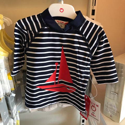 Boat Navy stripe long sleeve swim rashie