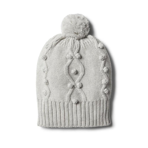 Cloud Grey Knitted Hat with Baubles