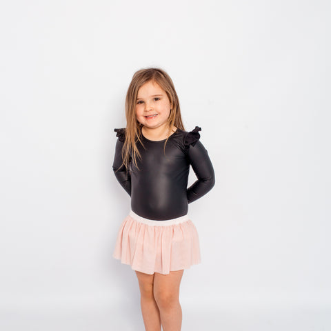 Faux Leather L/S Frill Leotard