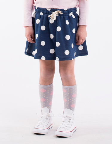 Spotty Skirt- Navy with white spots