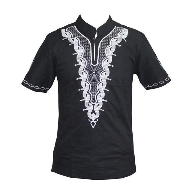 Mr Hunkle Men's Casual T-shirt African Vintage Embroidery Mandarin Collar Shirts Short Sleeve T-shirt For Men- Online at African Men Clothes