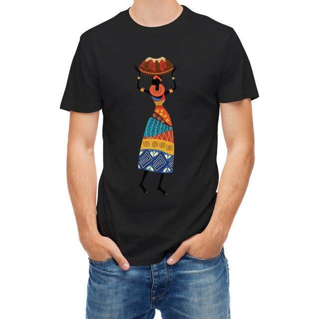 T-shirt African Woman Carrying Vessel Tribal Fashion Logo Printing T Shirts Cheap Crew Neck Men'S Top Tee Fashion- Online at African Men Clothes