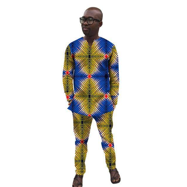 Wax Tops + Full Length Set - Nigerian Attire for Men- Online at African Men Clothes