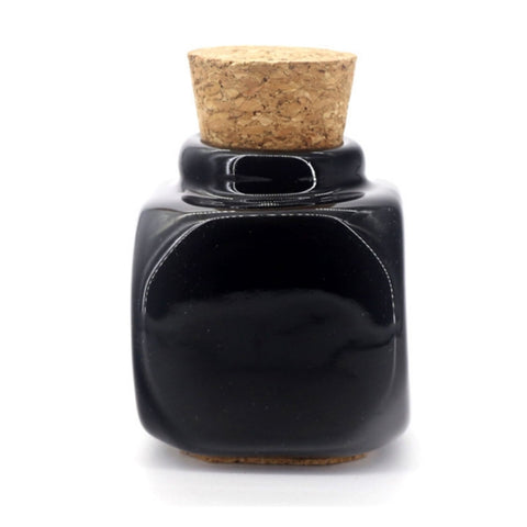 Large Black Ceramic Dappen Dish with Cork Stopper