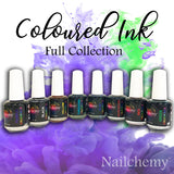 Coloured Inks - Full Collection - 15ml with *FREE 5ml Hocus Pocus Top Coat