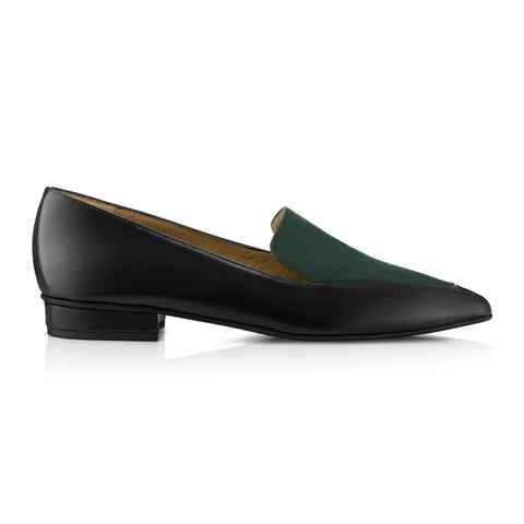 Ana Green Loafers Suede Leather Zurbano