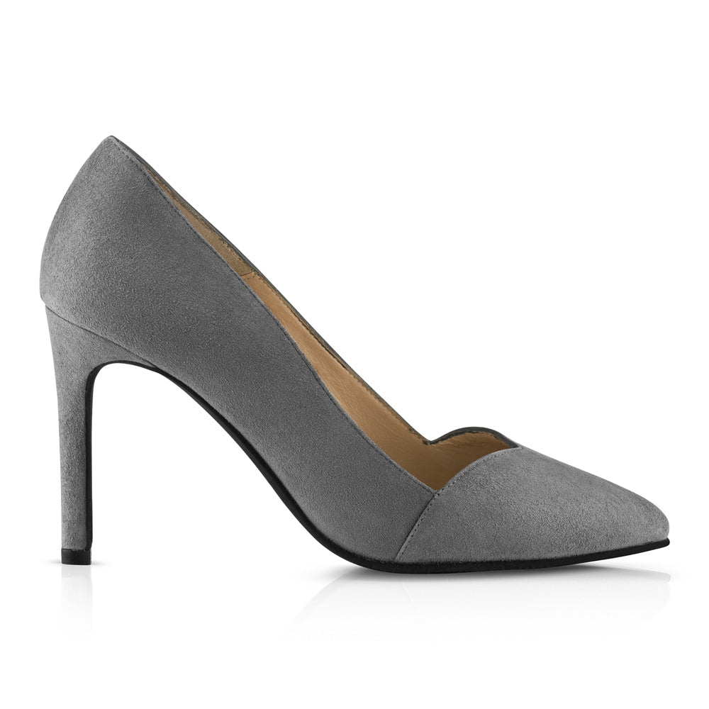 Bella Suede High Heels Grey Leather Zurbano