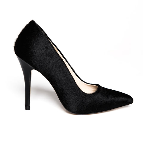 Black Poney Pumps Cow Hair Zurbano