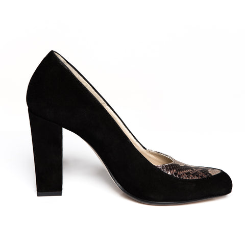 Black Suede Pumps Brown Python Skin Zurbano