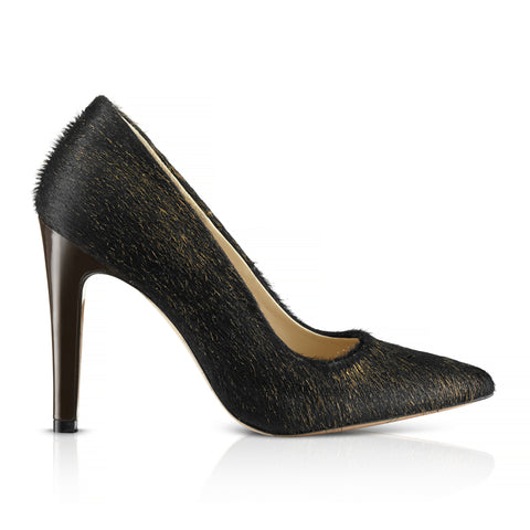 Castania Dark Brown Cow Hair Pumps