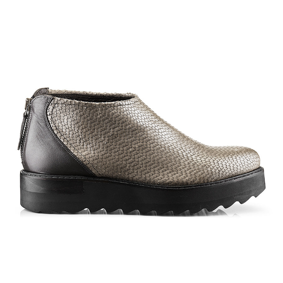 Husk Leather Ankle Boots Fish Scales in Dark Taupe