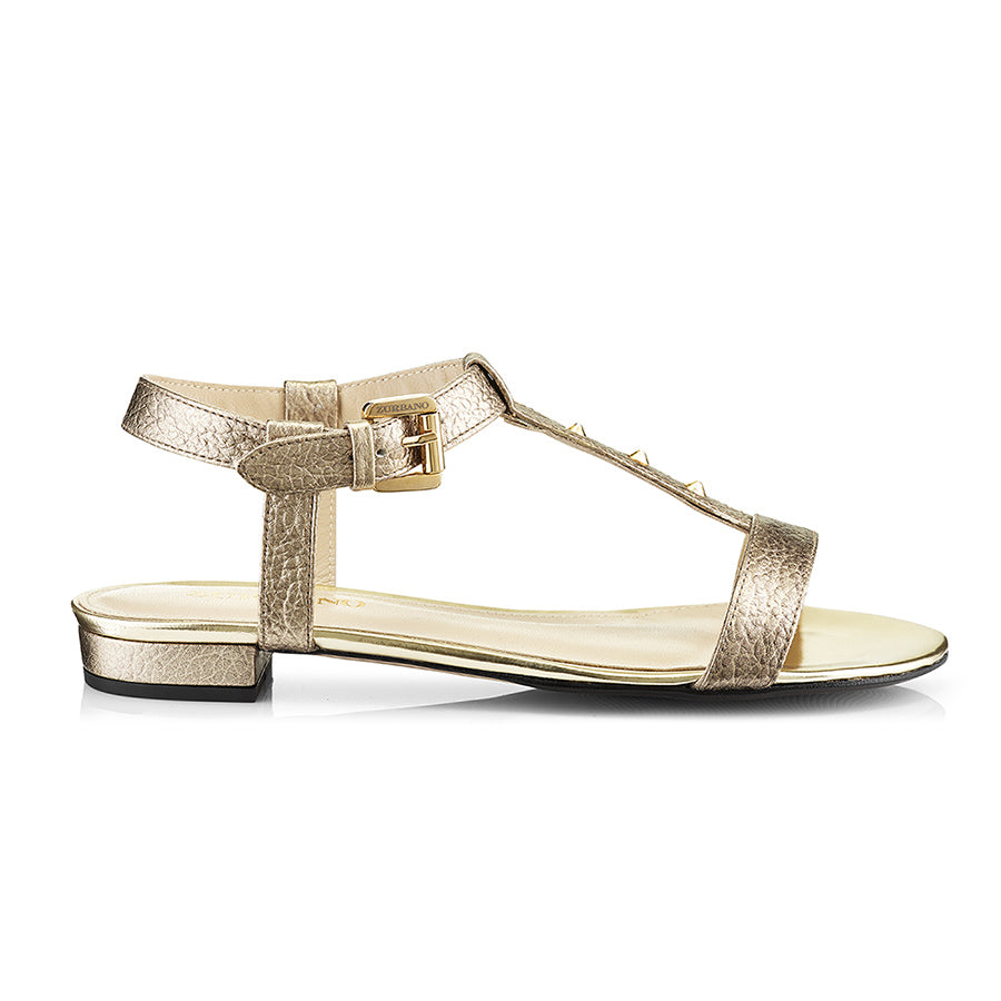 Mimi Gold Leather Sandals Zurbano