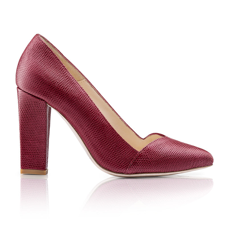 Rose High Heels Burgundy Calf Leather Zurbano