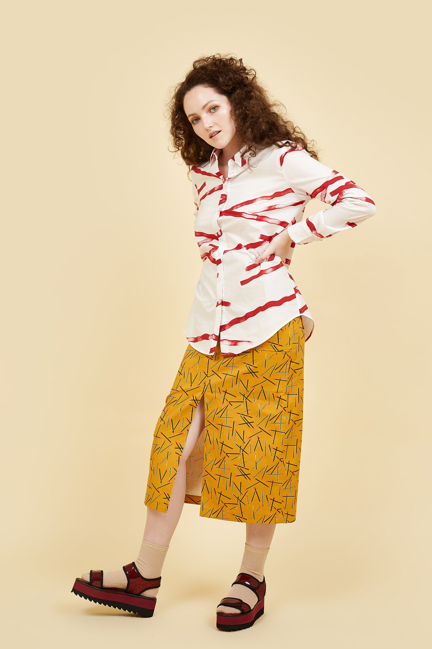 IVY NIU Cotton Shirt Red Weave