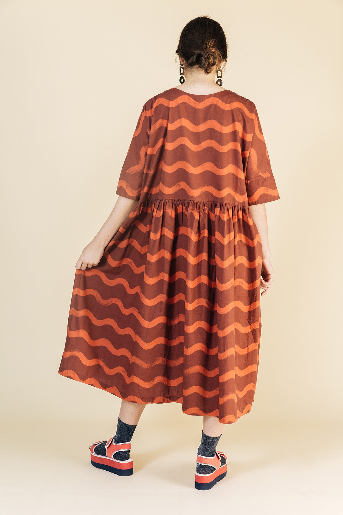 Long Tent Dress / Red Squiggles