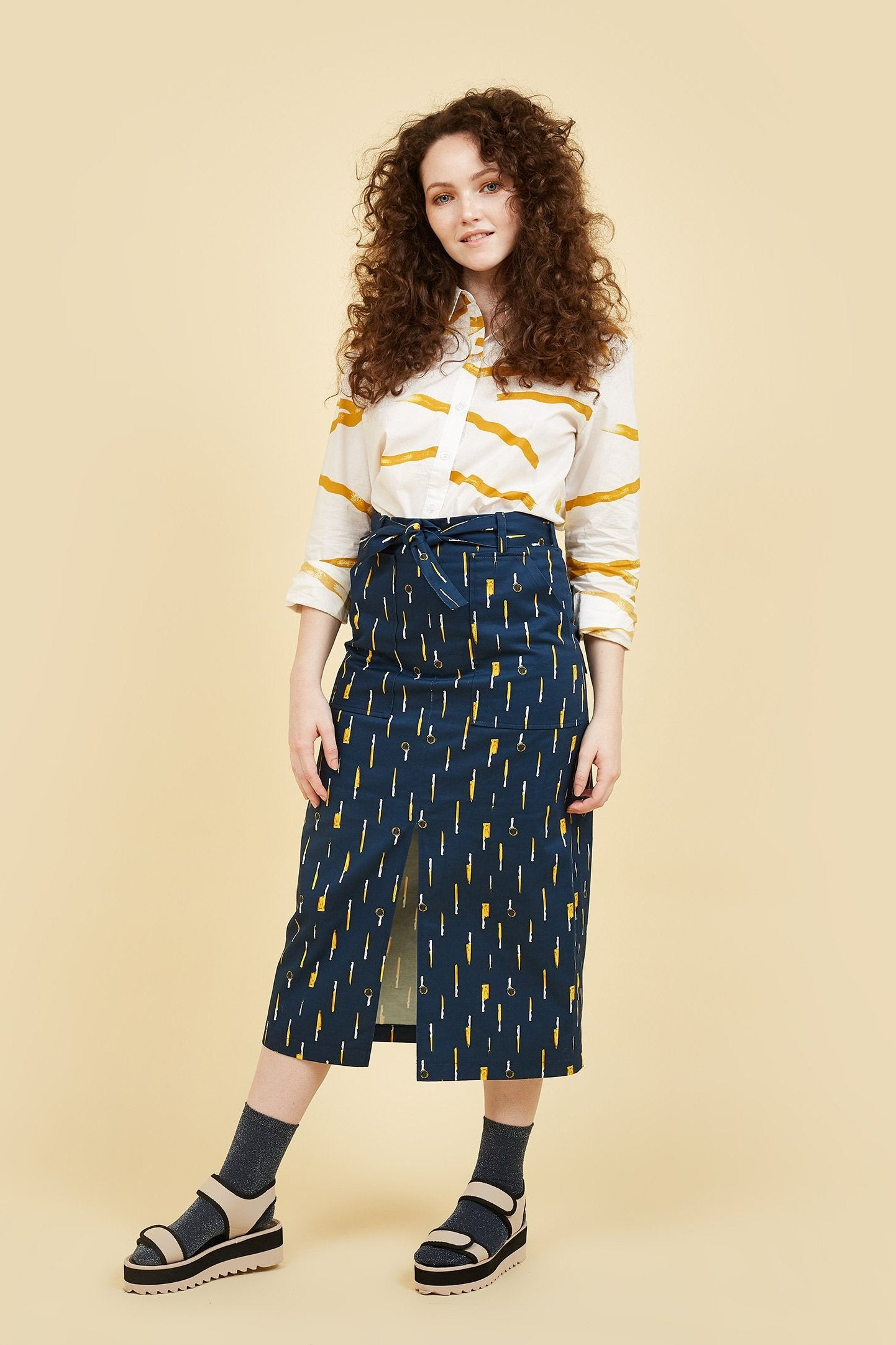 IVY NIU Long Skirt with Front Split Knives