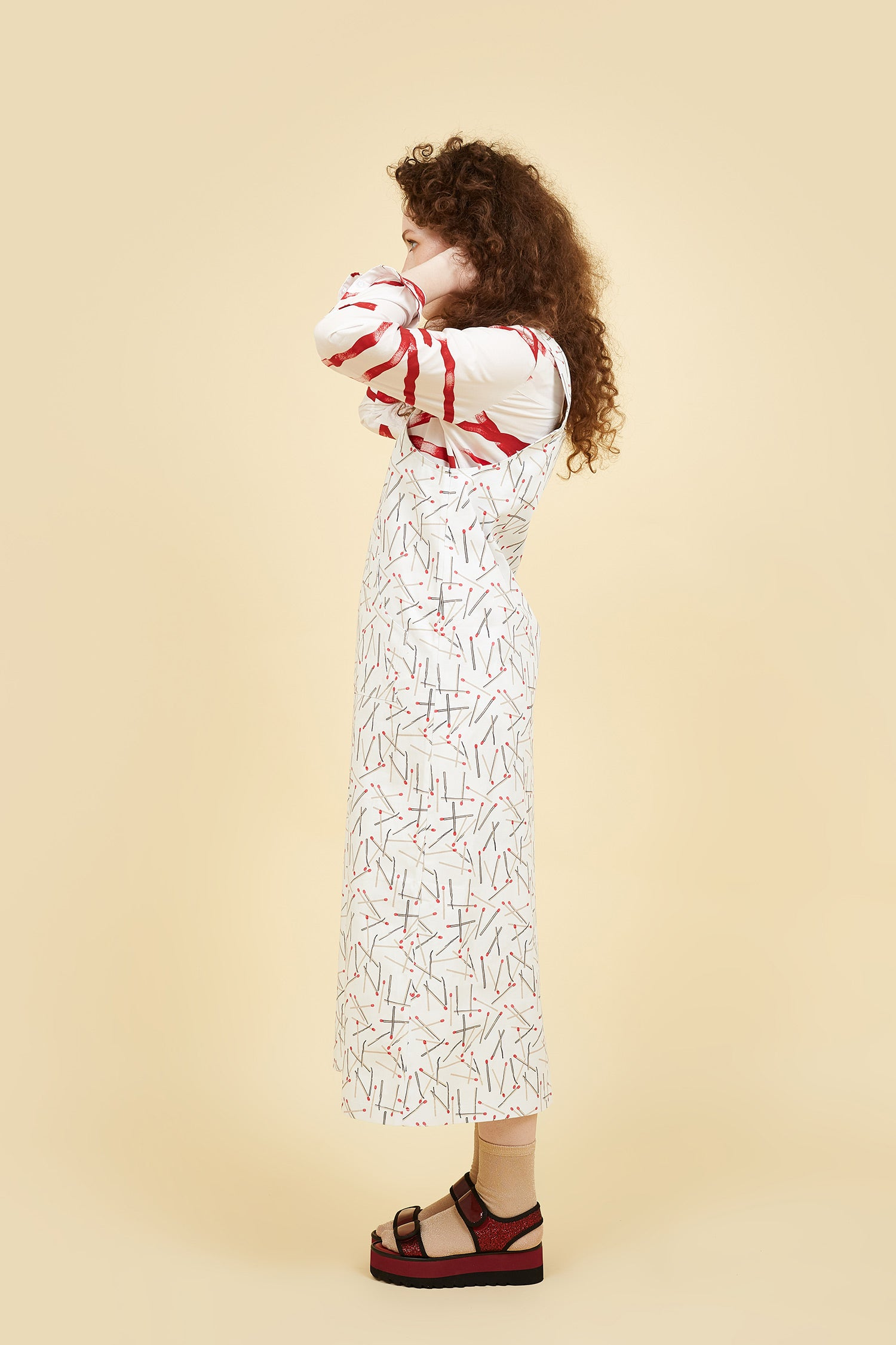 IVY NIU Long Overall Dress White Matches