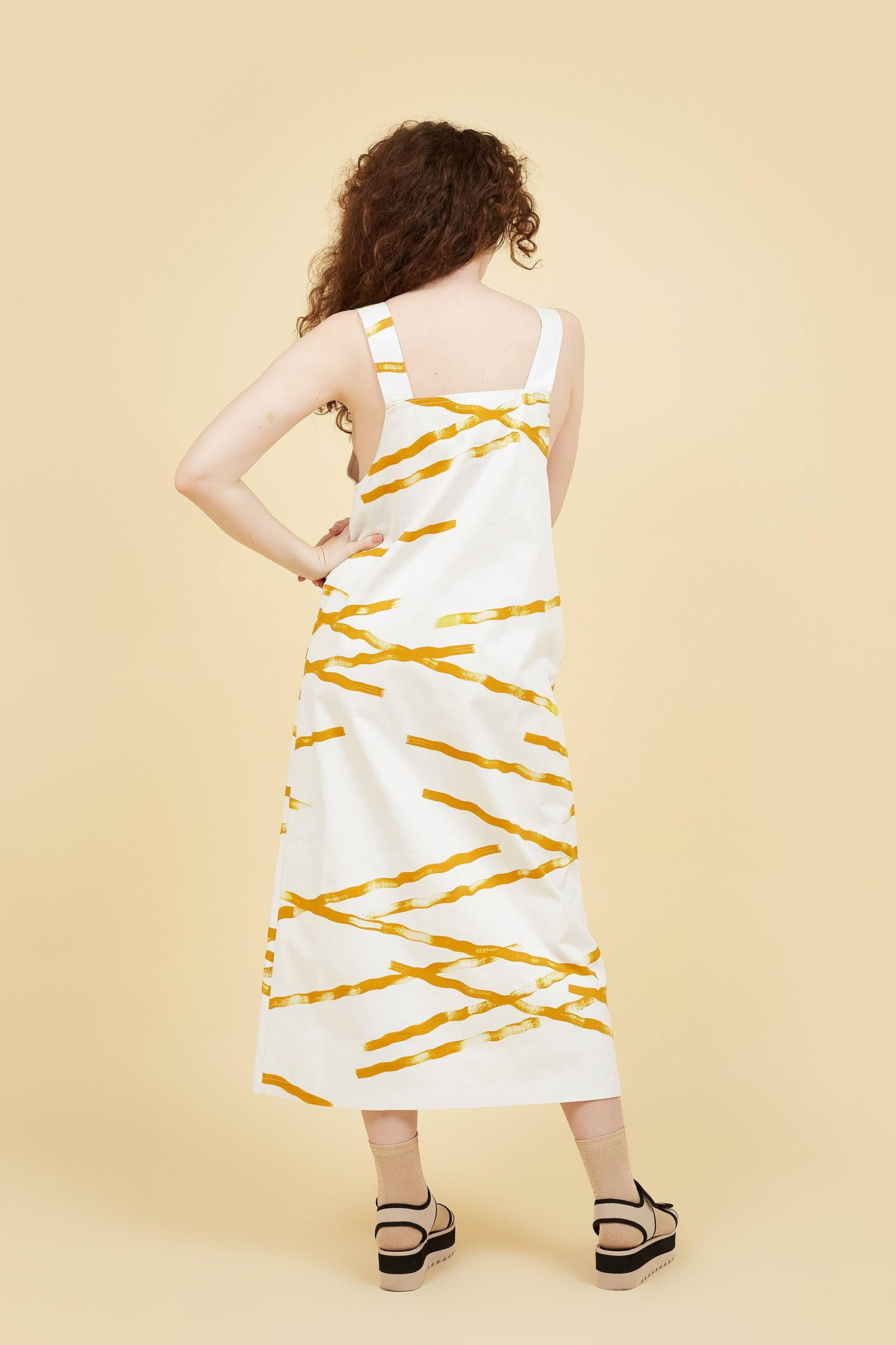 IVY NIU Long Overall Dress Yellow Weave