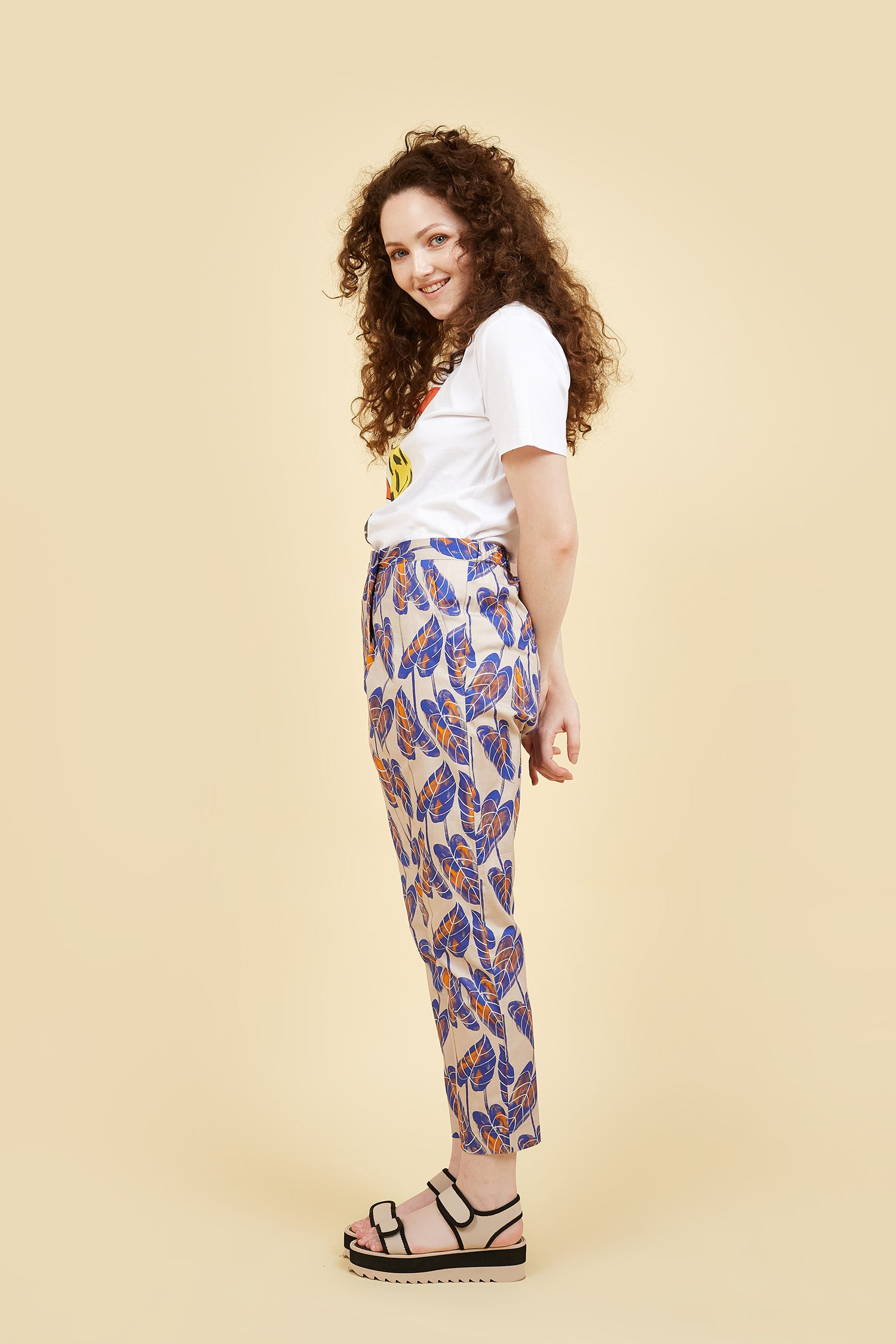 IVY NIU Wrap Pant Blue Leaves