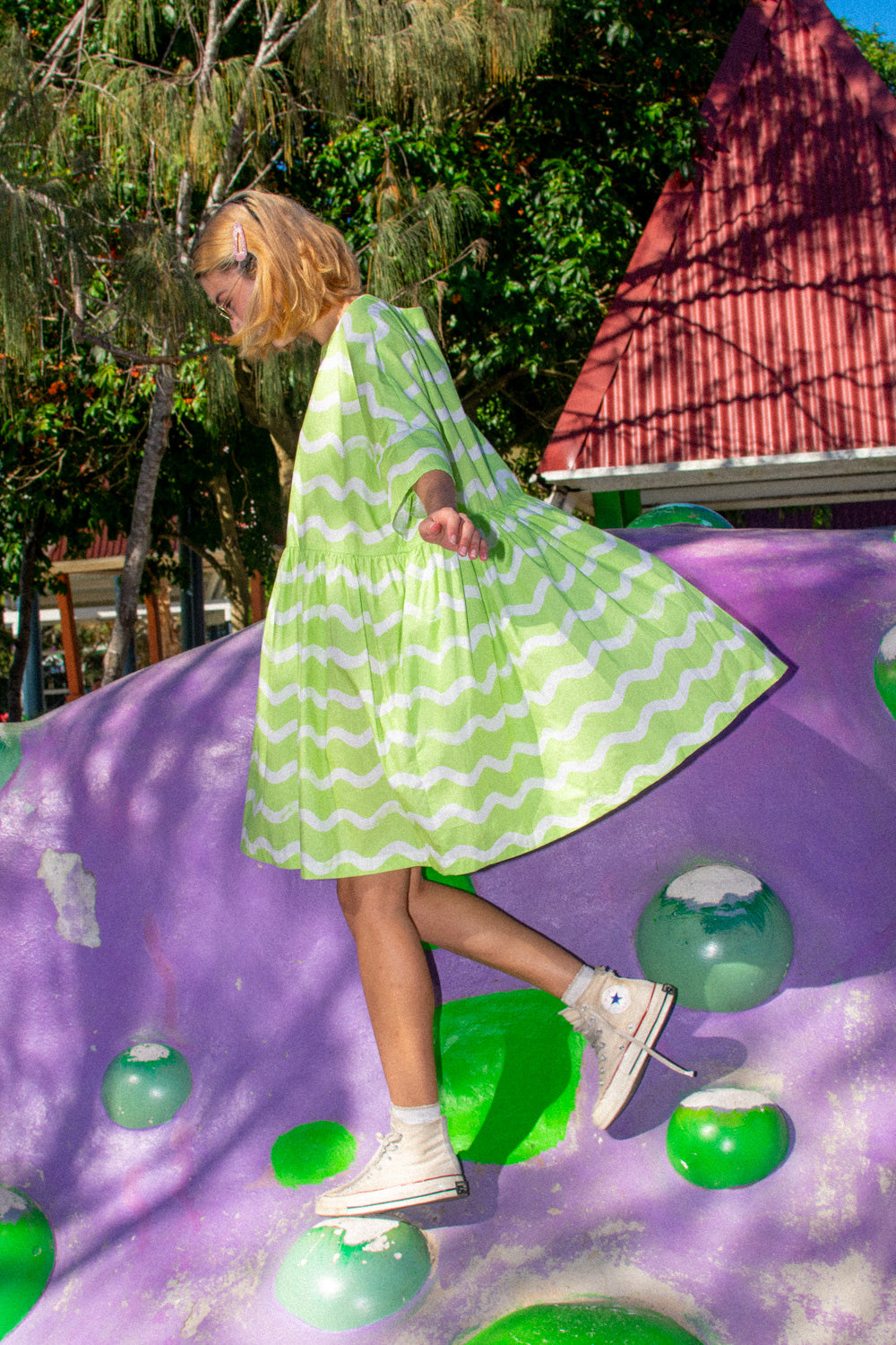 Tent Dress / Pistachio Squiggles