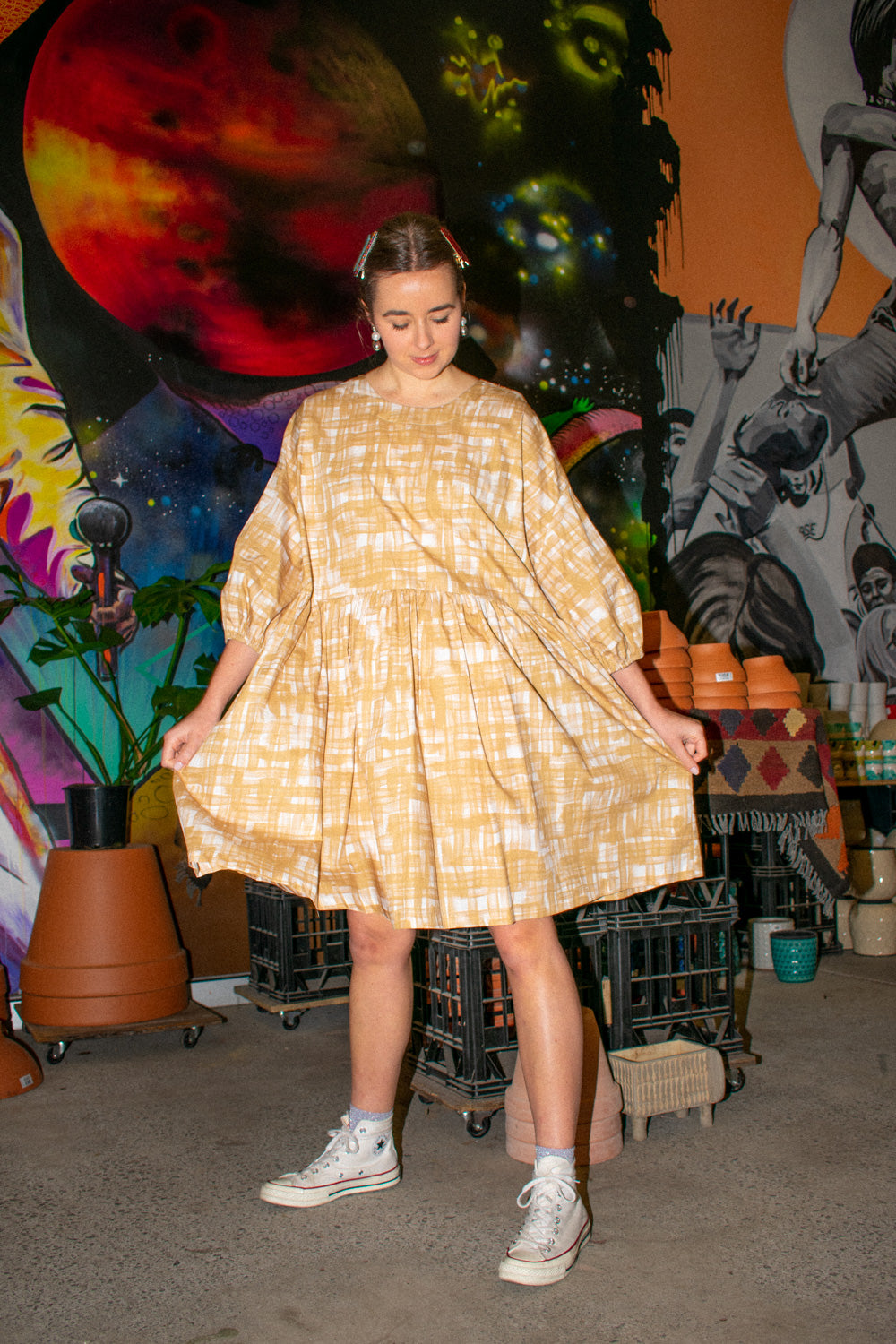 Tent Dress / Caramel Gingham