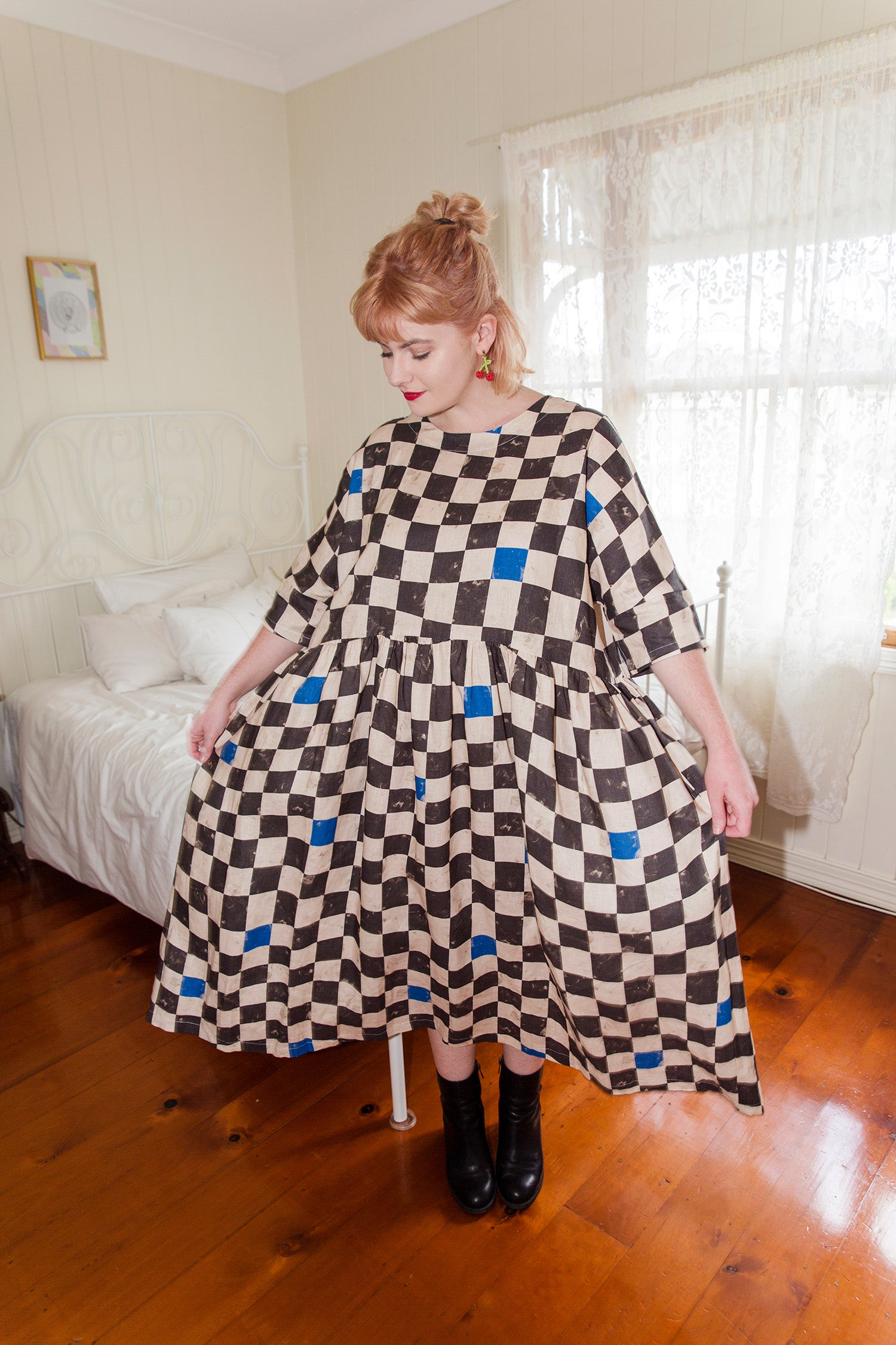 Long Tent Dress / Chocolate Checks
