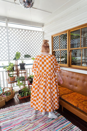 Long Tent Dress / Pink Orange Checks