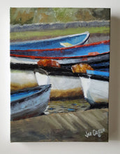 "Boats, Bude Canal, Cornwall, Limited Edition Canvas Giclee Print, 9"" x 12"""