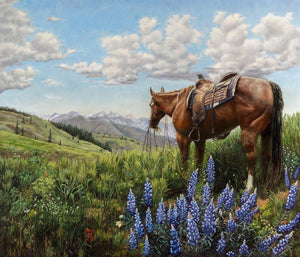 "Large Canvas Prints ""FLORIDA LOOKING AT TEXAS"" by Jan Clizer - Paint Scots, Limited Edition Hand-Signed/Numbered Giclee Print   54"" x 44"""