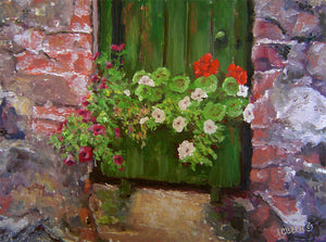 """STEADING FLOWERBOX""  12""x16"" Limited Edition of 350, Canvas Giclee Print, Hand-Signed/Numbered"
