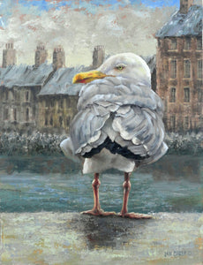 THE OBSERVER  | SEABIRD |  ORIGINAL JAN CLIZER PAINTING