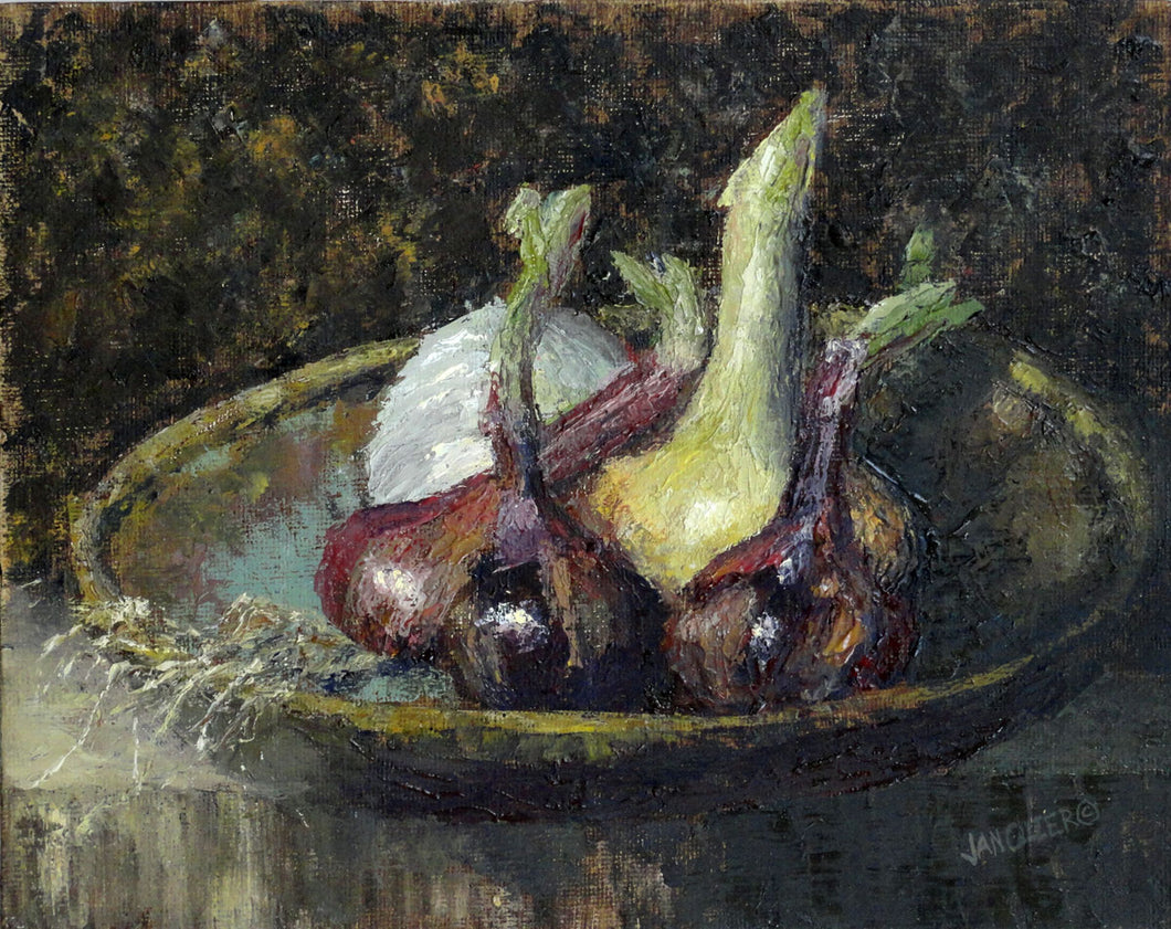FRESH ONIONS  |  ORIGINAL JAN CLIZER PAINTING