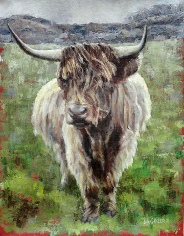 Gray - Brown - Green - Highland Cows - Cow Art for Wall - Highland Cow Print - Gift for Him - Celtic - Wool - Modern Farmhouse - Cow Print