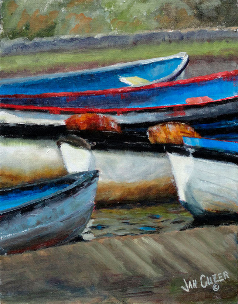 BOATS, BUDE CANAL, CORNWALL  |  Original Jan Clizer Painting