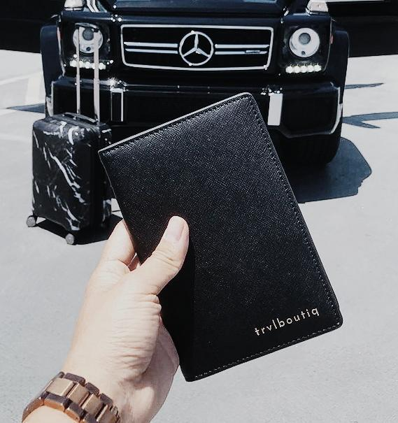 Luxury Passport Wallet | Custom Monogrammed in Saffiano Leather - Black passport TrvlBoutiq