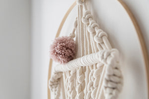 Macrame dream catcher fish, large pink
