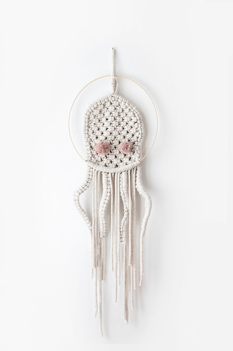 Macrame dream catcher octopus, pink
