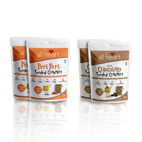 Pack of 4 - 2 Dark Chocolate and 2 Peri Peri Seeded Crackers ( 75g x 4)
