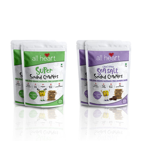 Super Seeded and Dark Chocolate and Sea Salt crackers (2x 2) (75g x 4)