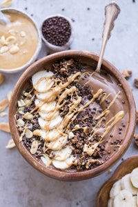 Smoothie Bowl With  Dark Chocolate Seeded Food Crackers