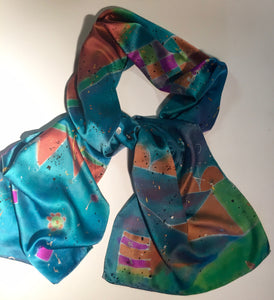 Sold 14x72 Silk Fun House Turquoiuse and Burnt Orange