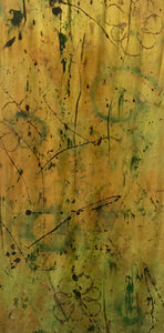Sold 14x72 Shimmering Gold Abstract with Bronze Flower
