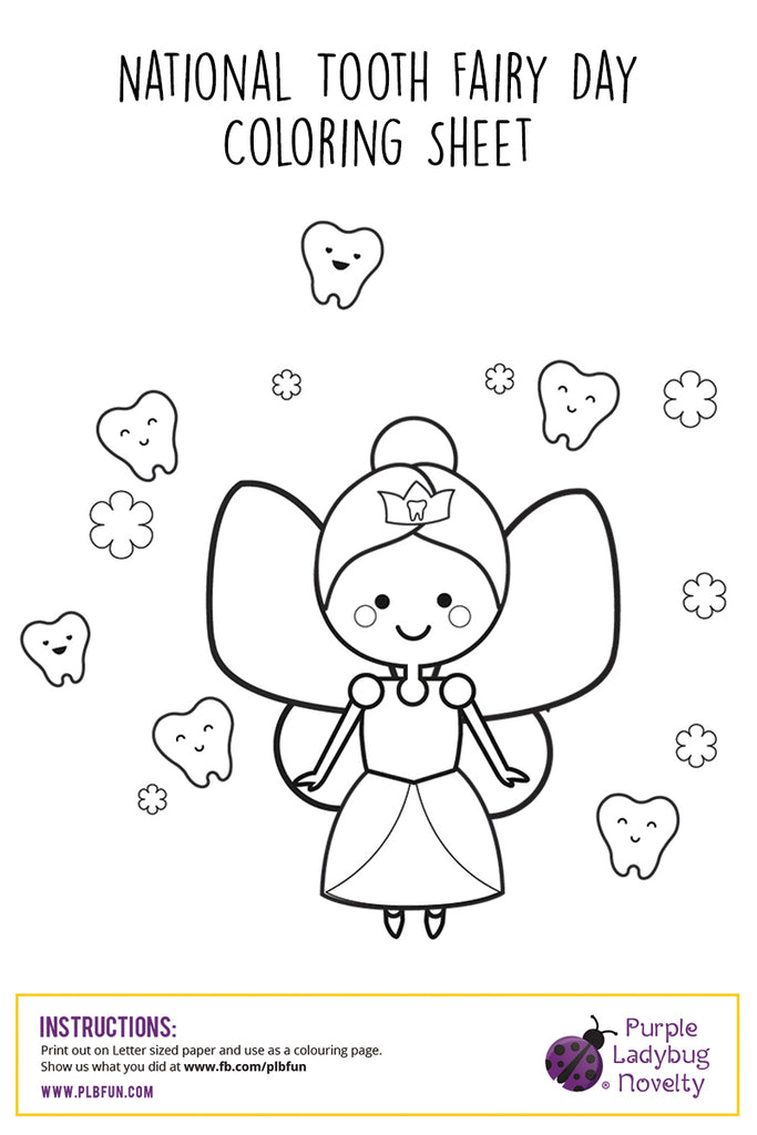 Free Printable Activity Pages National Tooth Fairy Day Purple Ladybug Plbfun