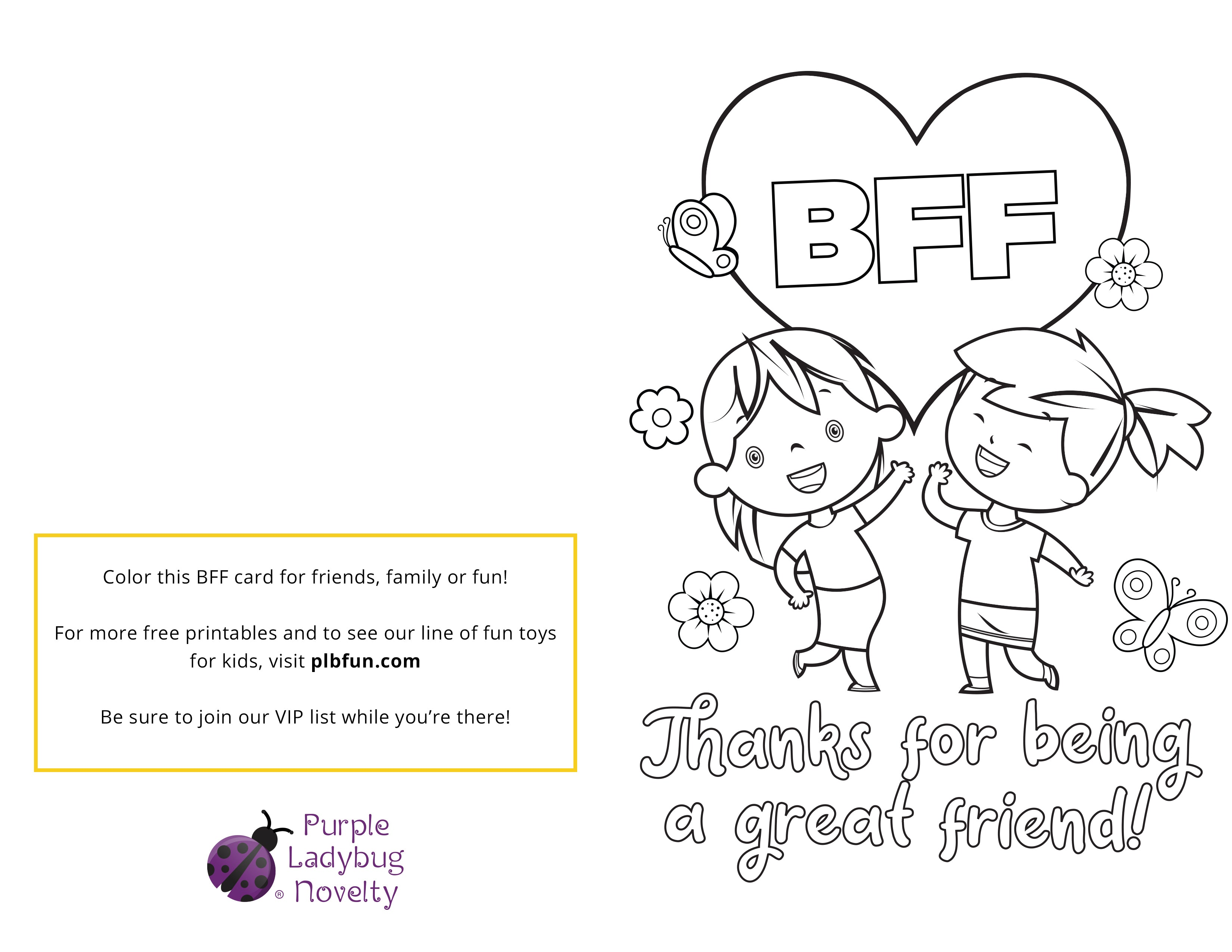 picture relating to Free Printable Friendship Cards called No cost Printable: BFF Card \